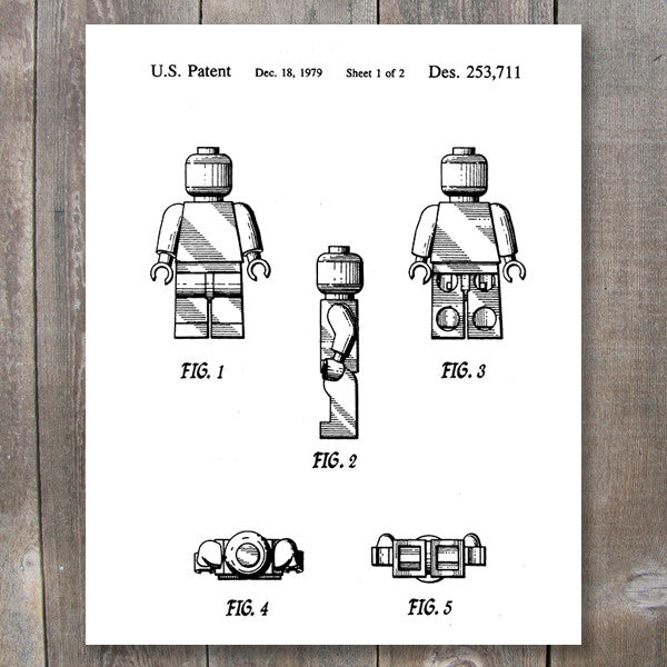 Lego Patent Printable Wall Art - Lego man wall decor