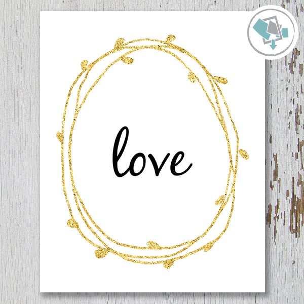 Love Wreath Printable Wall Art - These Bare Walls - 1