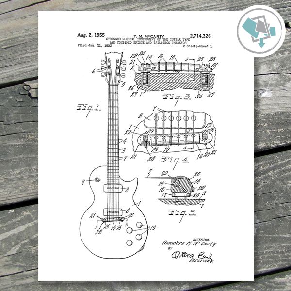 Guitar Patent Prints Printable Wall Art - Guitar Wall Decor