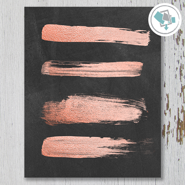 Rose Gold Strokes on Chalkboard Printable Wall Art - These Bare Walls - 1