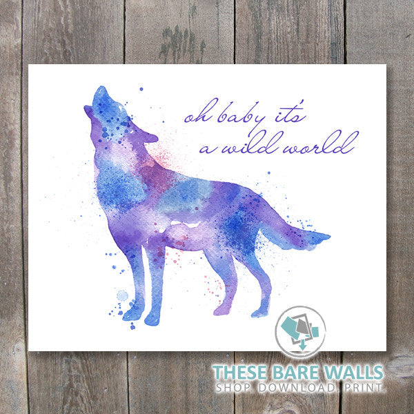 Watercolor Wolf - Oh baby It's A Wild World Printable Art - These Bare Walls - 1