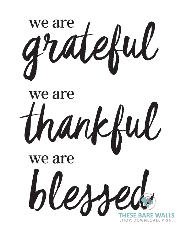 photo about Thankful Printable identified as We Are Thankful, We Are Grateful, We Are Lucky Printable Artwork