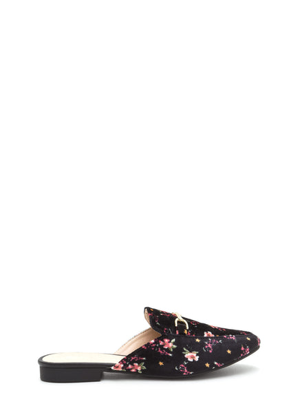 Qupid Regent-02 Floral Oh Chic Velvet Slip-On Smoking Flats
