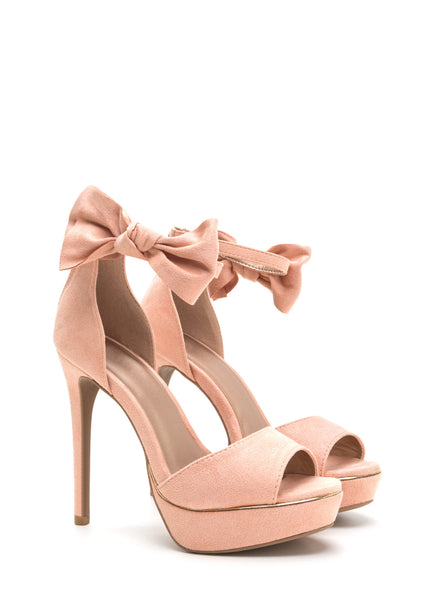 Qupid Avalon-15 Blush Bow My Goodness Peep-Toe Platforms