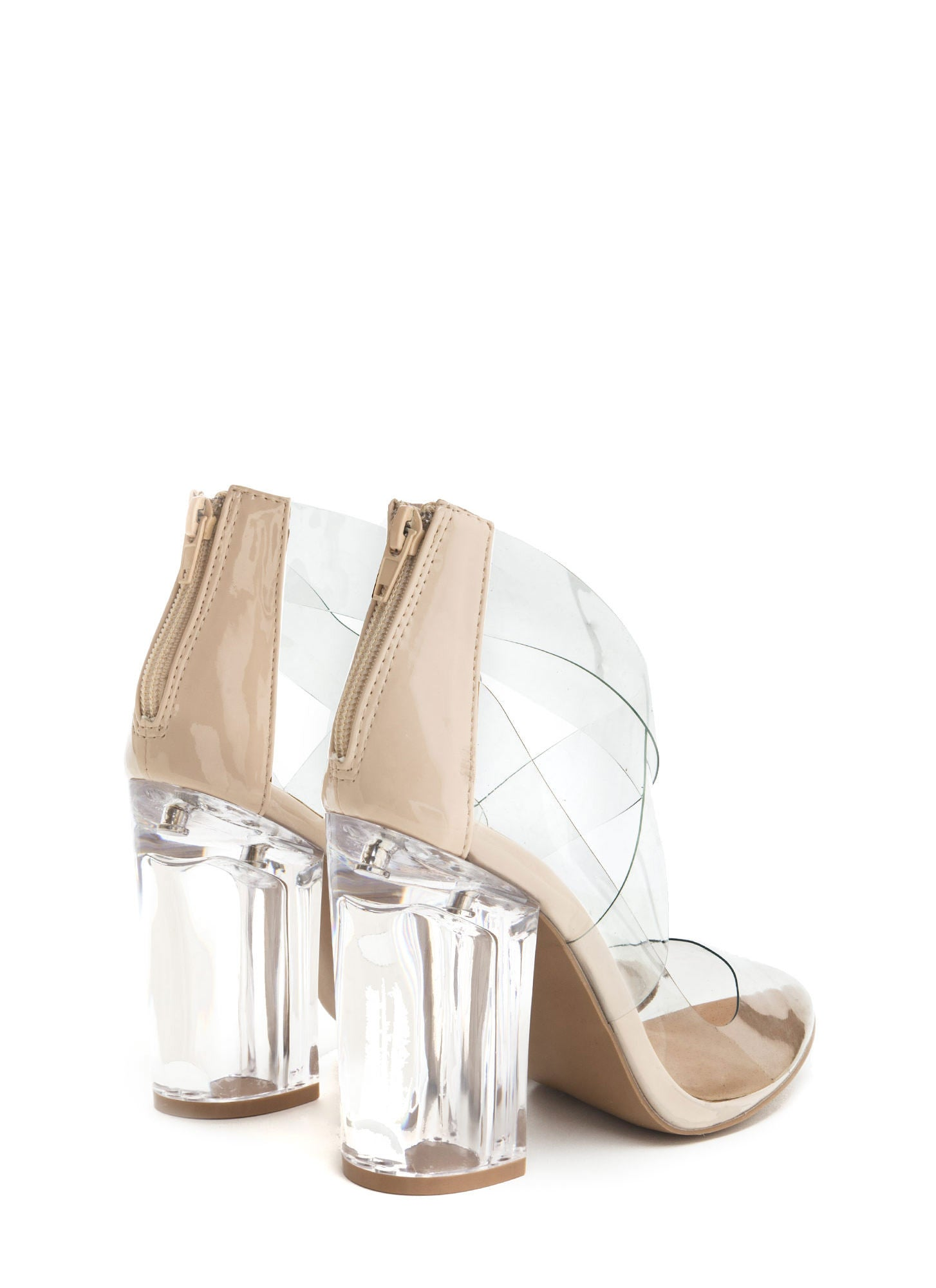 Qupid Ranker-03 Ceige The Point Is Clear Chunky Lucite Heels