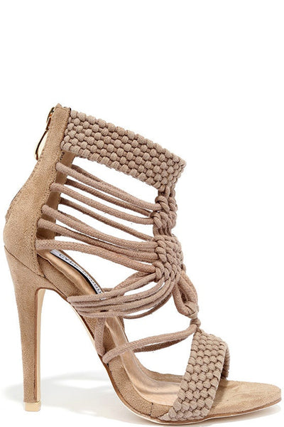 Cape Robin Unane-2  Nude Faux Suede Multi Strap Open Toe Single Sole Heels - CherryMad