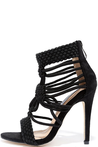 Cape Robin Unane-2 Black Faux Suede Multi Strap Open Toe Single Sole Heels