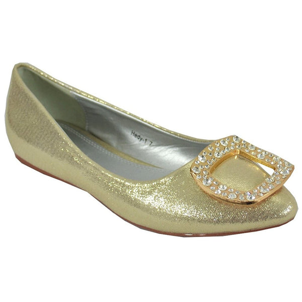 Cape Robbin Women's Hedy-1 Flats, Gold, 7.5 M US
