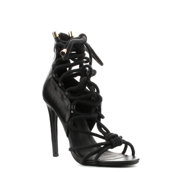 CherryMad Alaza-24 Black Strappy Knotted Rope Stiletto Heel