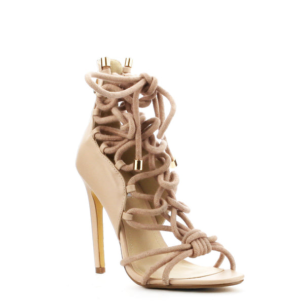 CherryMad Alaza-24  Nude Strappy Knotted Rope Stiletto Heel