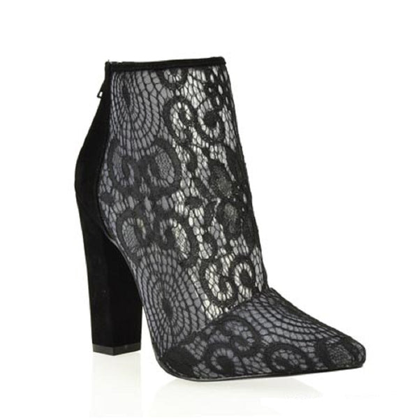 CherryMad Shoe Republic LA Breanna Lace Black Pointy Toe Block Heel Ankle Boots