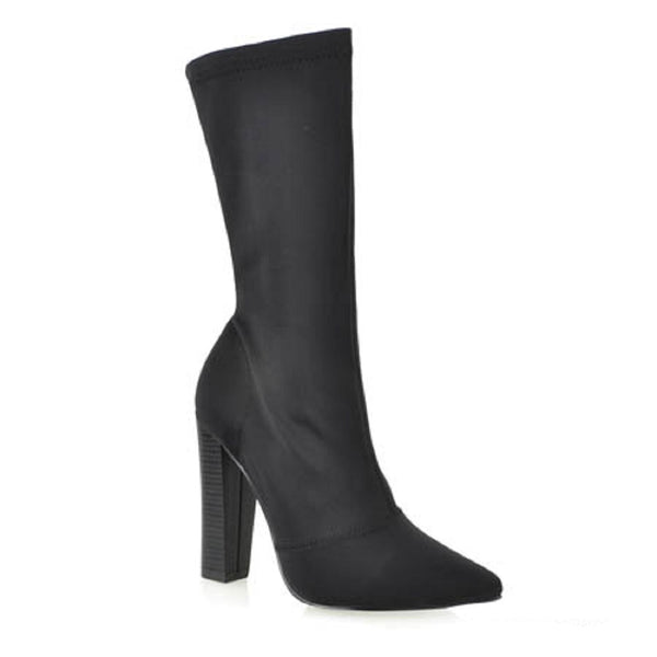 Shoe Republic CherryMad Genetic Black Stretchy Pointy Toe Ankle High Round Block Heel Boot Bootie …