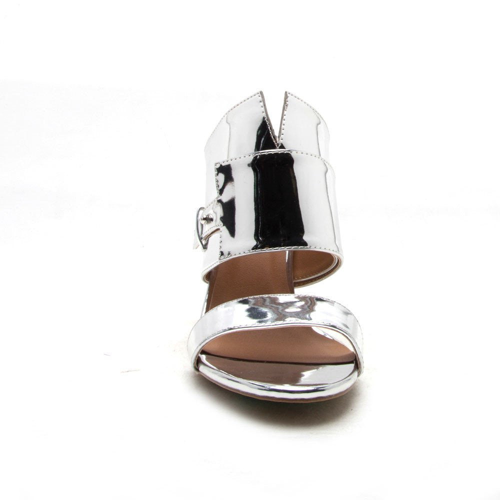 Qupid Glimore-07 Silver Gleam Up Clear Chunky Mule Heels
