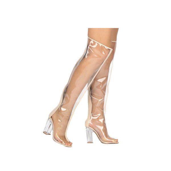 Qupid Kloude-13 Lucite Peep Toe Chunky Perspex Heeled Over-The-Knee Boots