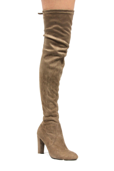 CherryMad Kylie-1 Taupe Over the Knee Chunky Heel Thigh High Round Toe Boots