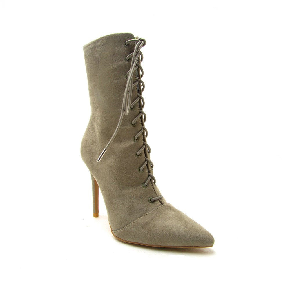 CherryMad Qupid Milia-63 Khaki Vegan Suede Lace Up Pointy Toe Booties