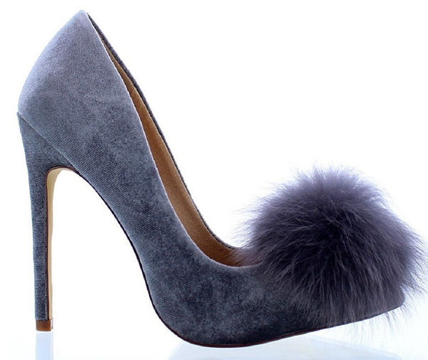 Liliana Affair Gray Velvet Pointy Toe Stiletto High Heel Fur Pom Slip On Pump