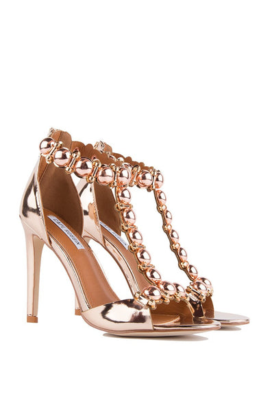 CherryMad Cape Robbin Alza-40 Pink Gold Metallic Studs and Spikes T-Strap Stiletto Sandal