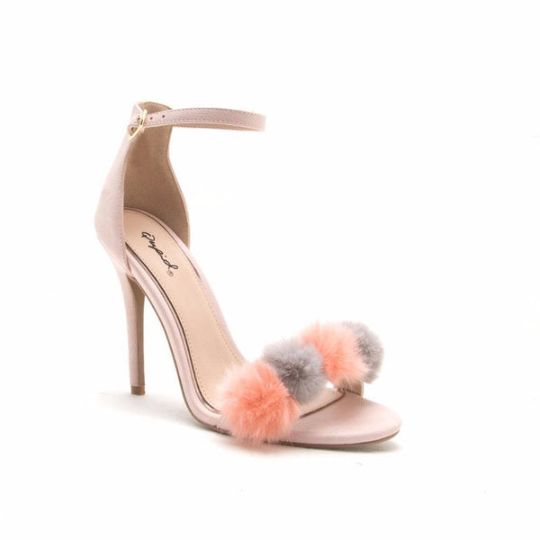 CherryMad Qupid Blush Lizard Pom Pom Band Ankle Strap Stiletto Heel