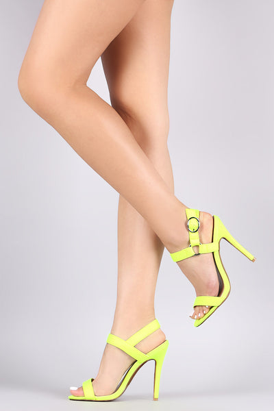 Qupid Ara-286 Yellow Elastane Ankle Strap Single Sole Stiletto Heel