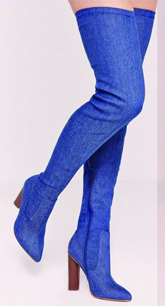 Cape Robbin Connie-10 Stretch Denim Over Knee Thigh High Block Heel Pointy Toe Boot Blue