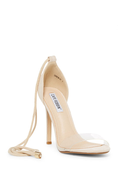 Copy of Cape Robbin Drew-37 Nude Suede Open Toe Lucite Strap Rope Lace Up Stiletto Heel