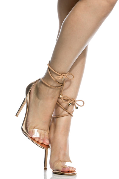 Cape Robbin Drew-37 Rose Gold Open Toe Lucite Strap Rope Lace Up Stiletto Heel