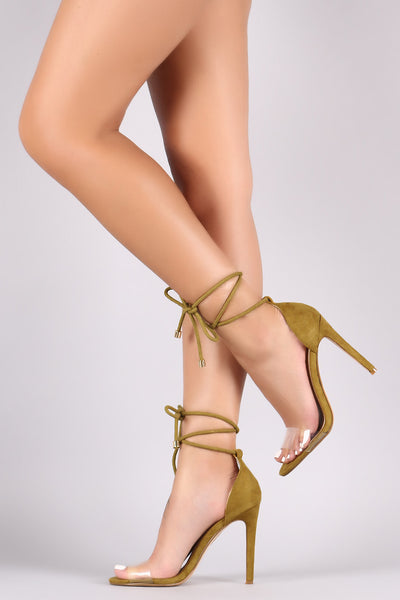 Cape Robbin Drew-37 Olive Suede Open Toe Lucite Strap Rope Lace Up Stiletto Heel