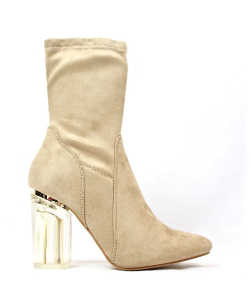 Cape Robbin Fay-1 Beige No Frontin Glass Heel Stretch Ankle Boot