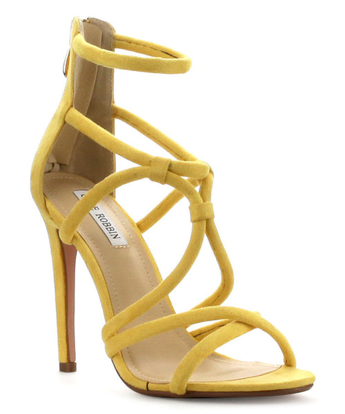 CherryMad Cape Robin JVT Yellow Strappy Knotted Single Sole Heels