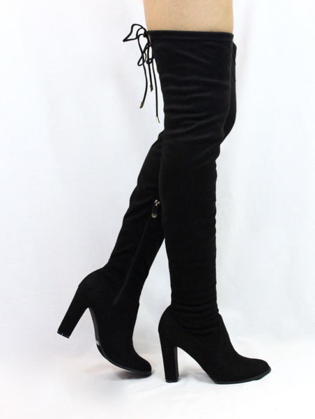 CherryMad Kylie-1 Black Over the Knee Chunky Heel Thigh High Round Toe Boots