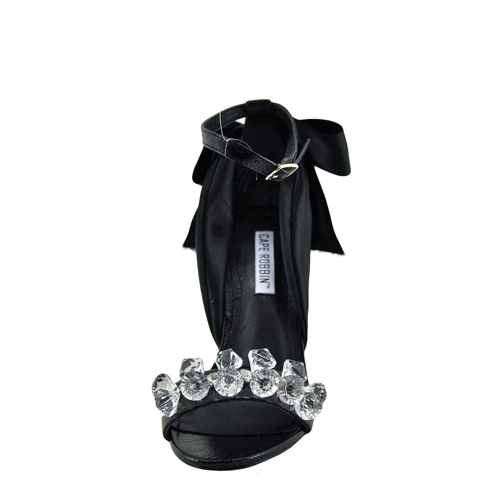 CherryMad Cape Robbin Lola-19 Black Faux Gemstone And Bow Accent Ankle Strap Stiletto Heel