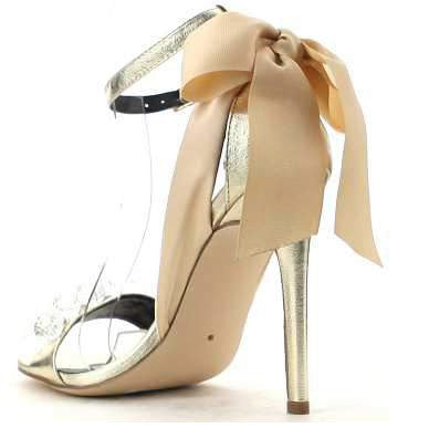 CherryMad Cape Robbin Lola-19 Gold Faux Gemstone And Bow Accent Ankle Strap Stiletto Heel