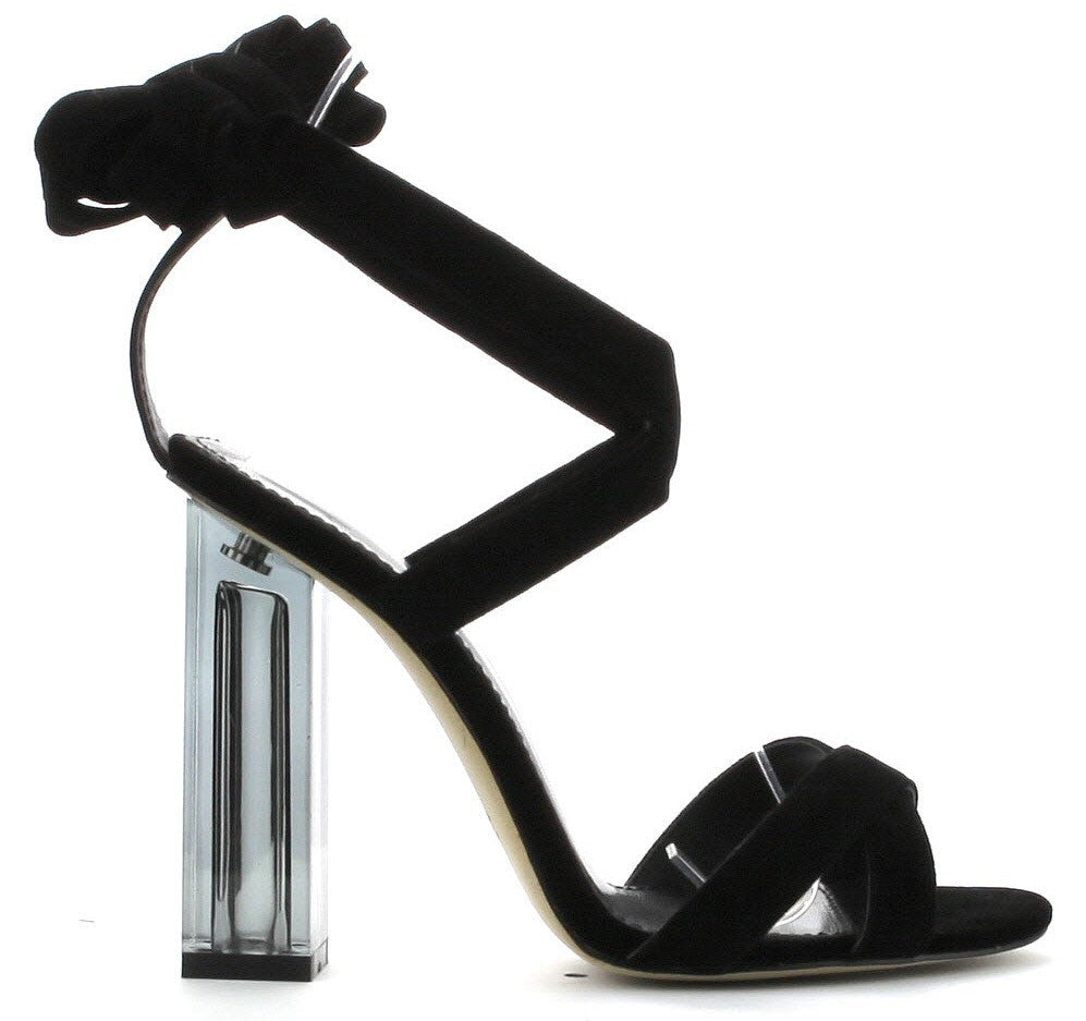 Cape Robbin Maria-1Black Tie Up Clear Perspex Block Chunky High heel Open Peep Toe Sandal Shoe Black