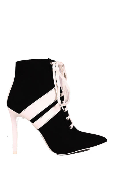 CherryMad Qupid Milia-58 Black Striped Sporty Heels Pointy Ankle Boost
