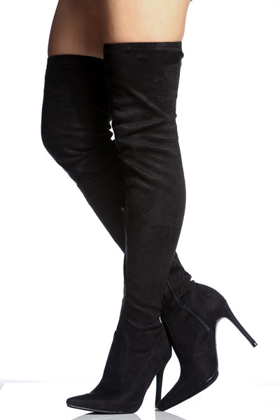 Cherry Mad Cape Robbin Mini-5 Black Faux Suede Thigh High Pointed Toe Boots