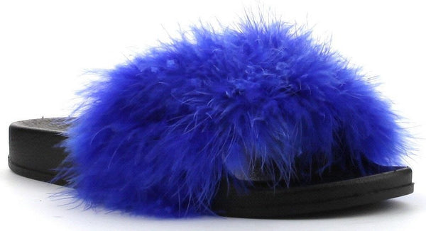 CherryMad Moira-2 Blue Mink Marabou Fur Slide Slip On Sandals