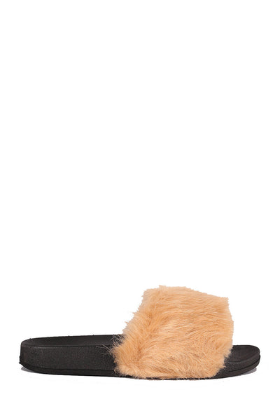 CherryMad Cape Robin Moira-5 Cape Robbin Moira-2 Beige Women Flip Flop Fur Slide Slip On Flats Sandals Shoe Slipper Furry