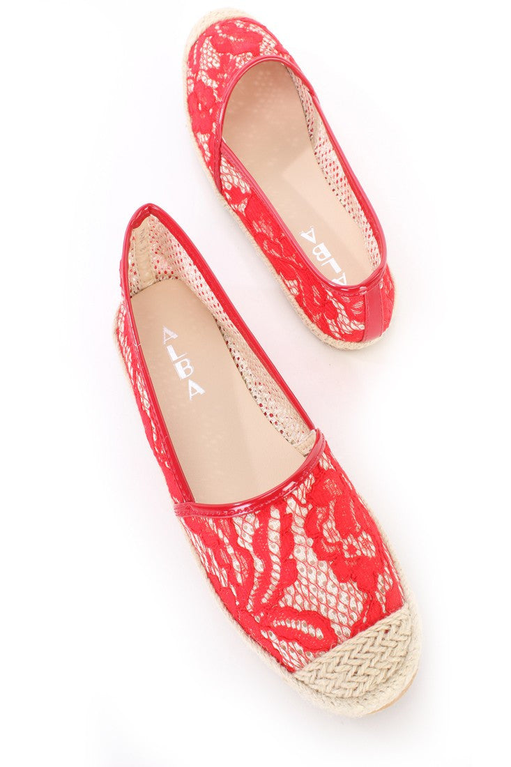 Alba Nana Red Vintage Style Espadrille Trimmed Flats Lace Netted - CherryMad