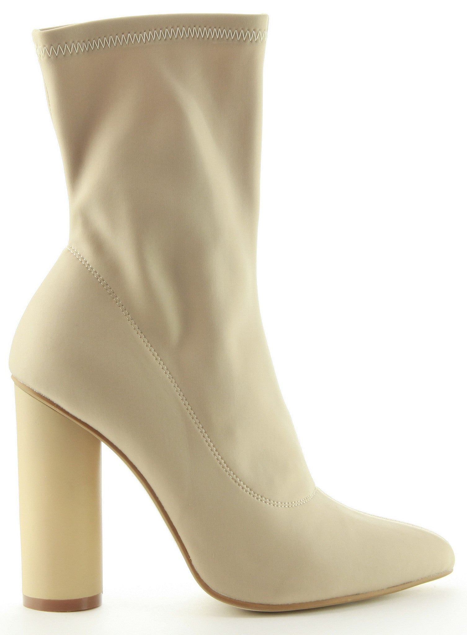 CherryMad Cape Robin Paw-1 Nude Pointy Toe Lycra Elastic Pull On Ankle Bootie Block Round Heel Boot