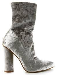Cape Robbin Paw-26 Gray Velvet Stretchy Pointy Toe Ankle High Round Block Heel Boot Bootie