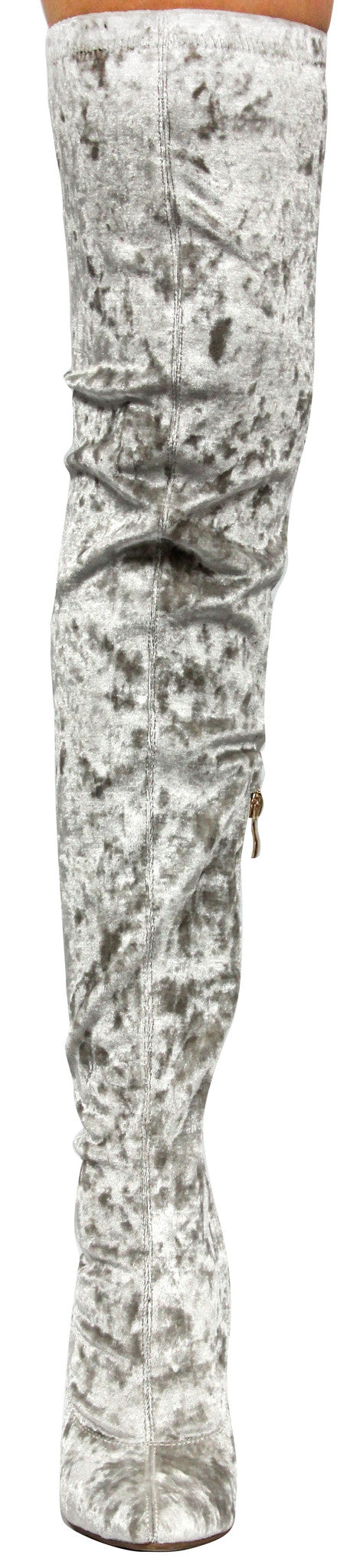 Cape Robbin Paw-27 Gray Crushed Velvet Stretchy Pointy Toe Thigh High Over Knee Block Heel Boot Lite Gray