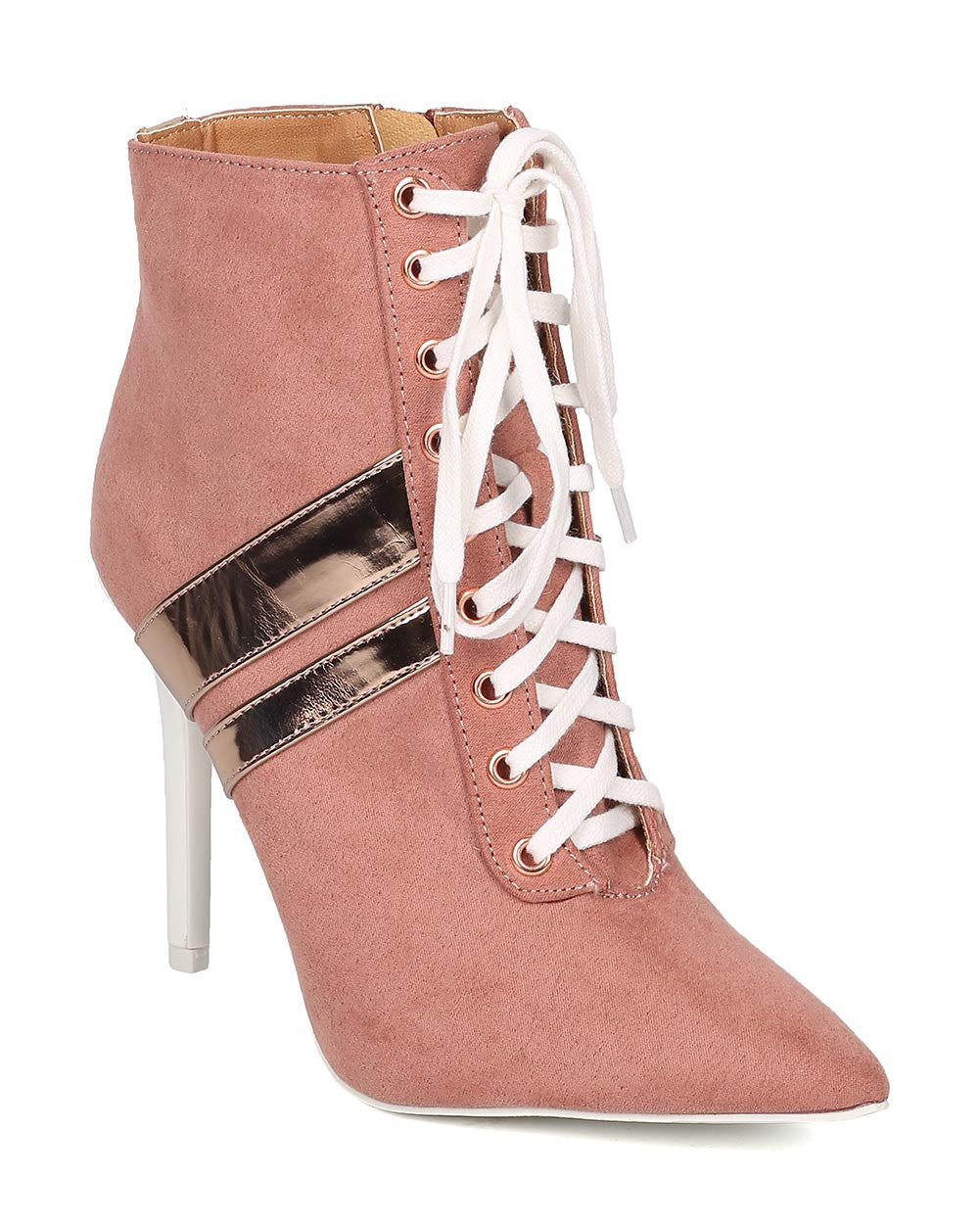 CherryMad Qupid Milia-58 Pink Striped Sporty Heels Pointy Ankle Boost