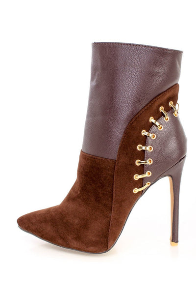 Alba Ricky10 Brown Pointy Toe Studded Heel Ankle Booties Velvet - CherryMad