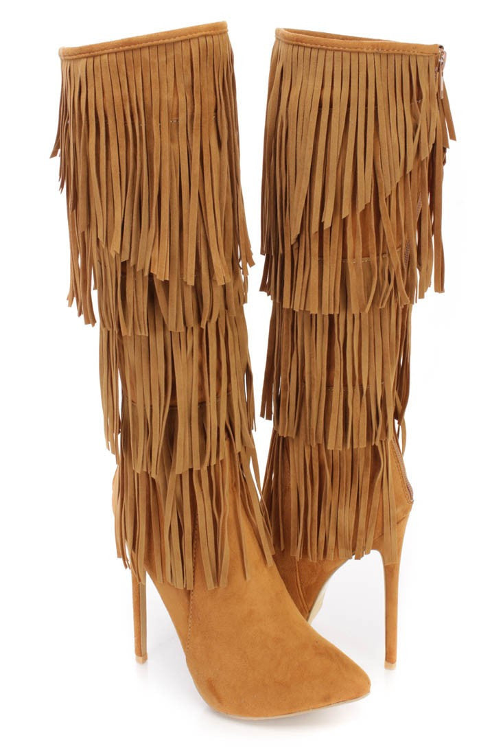 Alba Ricky-22 Tan Pointy Toe Faux Suede Fringe Stiletto Knee High Boot - CherryMad