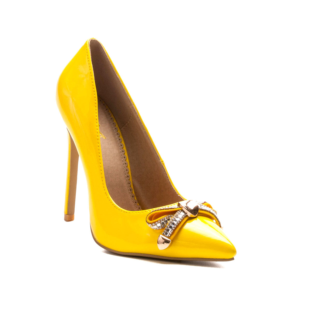 Alba Ricky24 Yellow Pointy Toe Bow Hearts Pump Heels – CherryMad