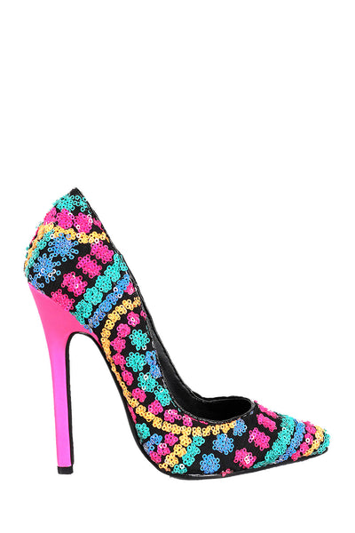 Privileged Rolling Neon Sequin Pointy Toe Stiletto Pump Heel - CherryMad