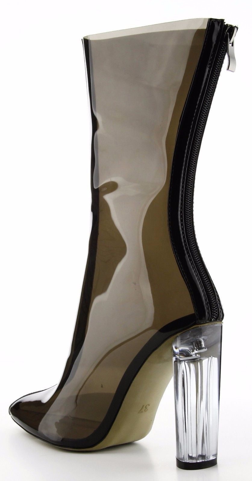 CherryMad Ella-1 Transparent Vinyl Block Chunky Clear Perspex Ankle Boot Bootie
