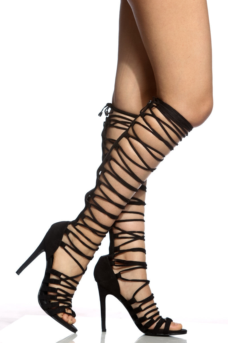CherryMad Gladiators Black Faux Suede Multi Strap Knee High Heels - CherryMad