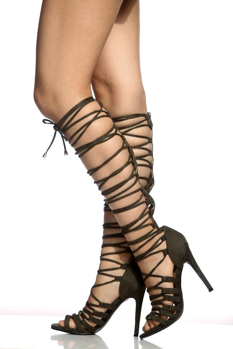 CherryMad Gladiators Olive Faux Suede Multi Strap Knee High Heels